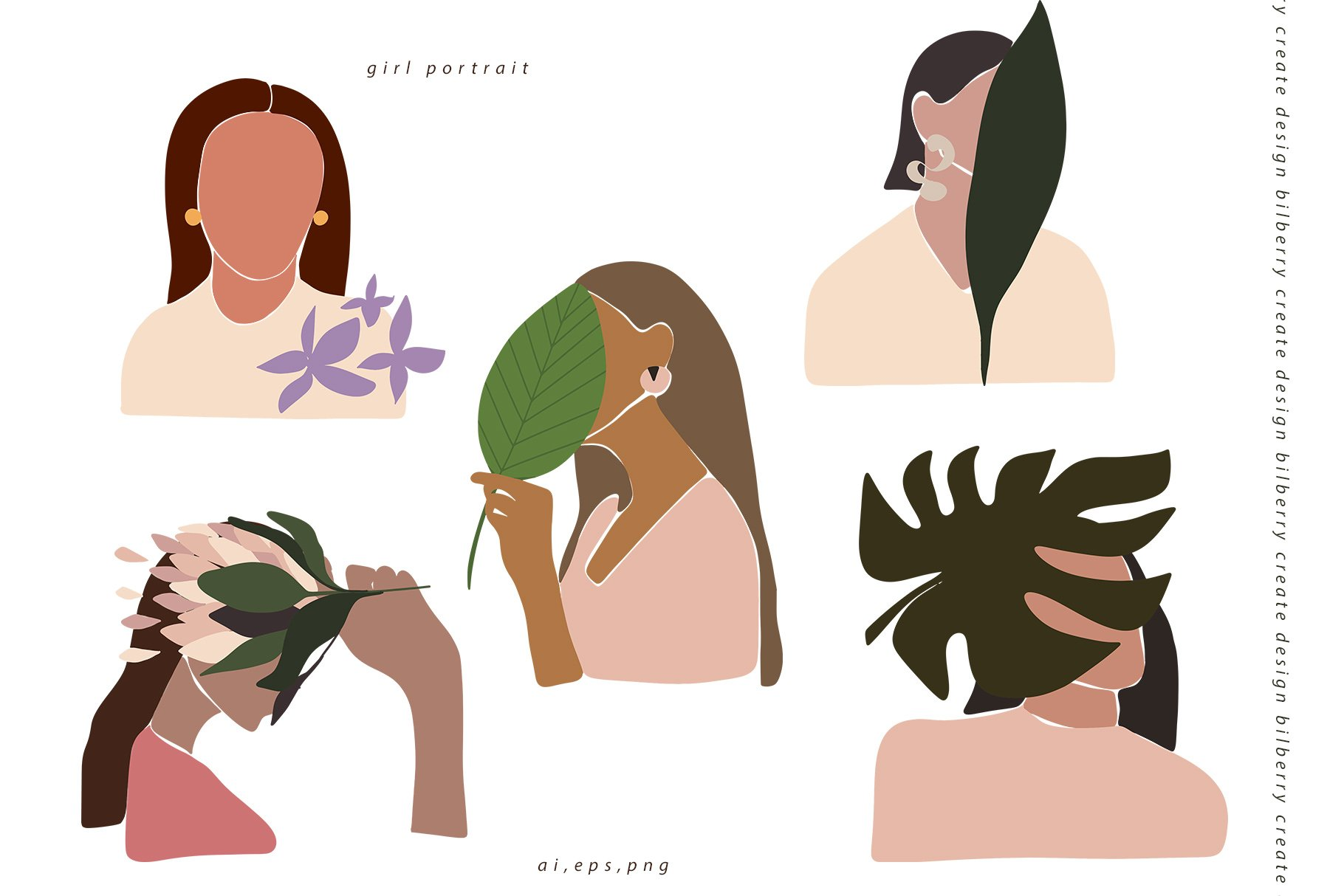 85多个抽象女孩风景形状矢量图案素材 Child Of Flowers Abstract Portrait插图(6)