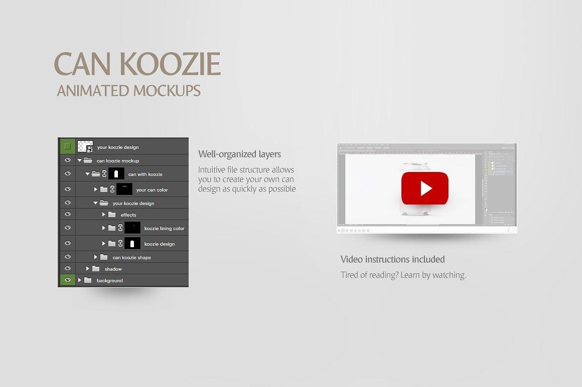 听装啤酒饮料易拉罐外观设计展示样机 Can Koozie Animated Mockup插图(6)