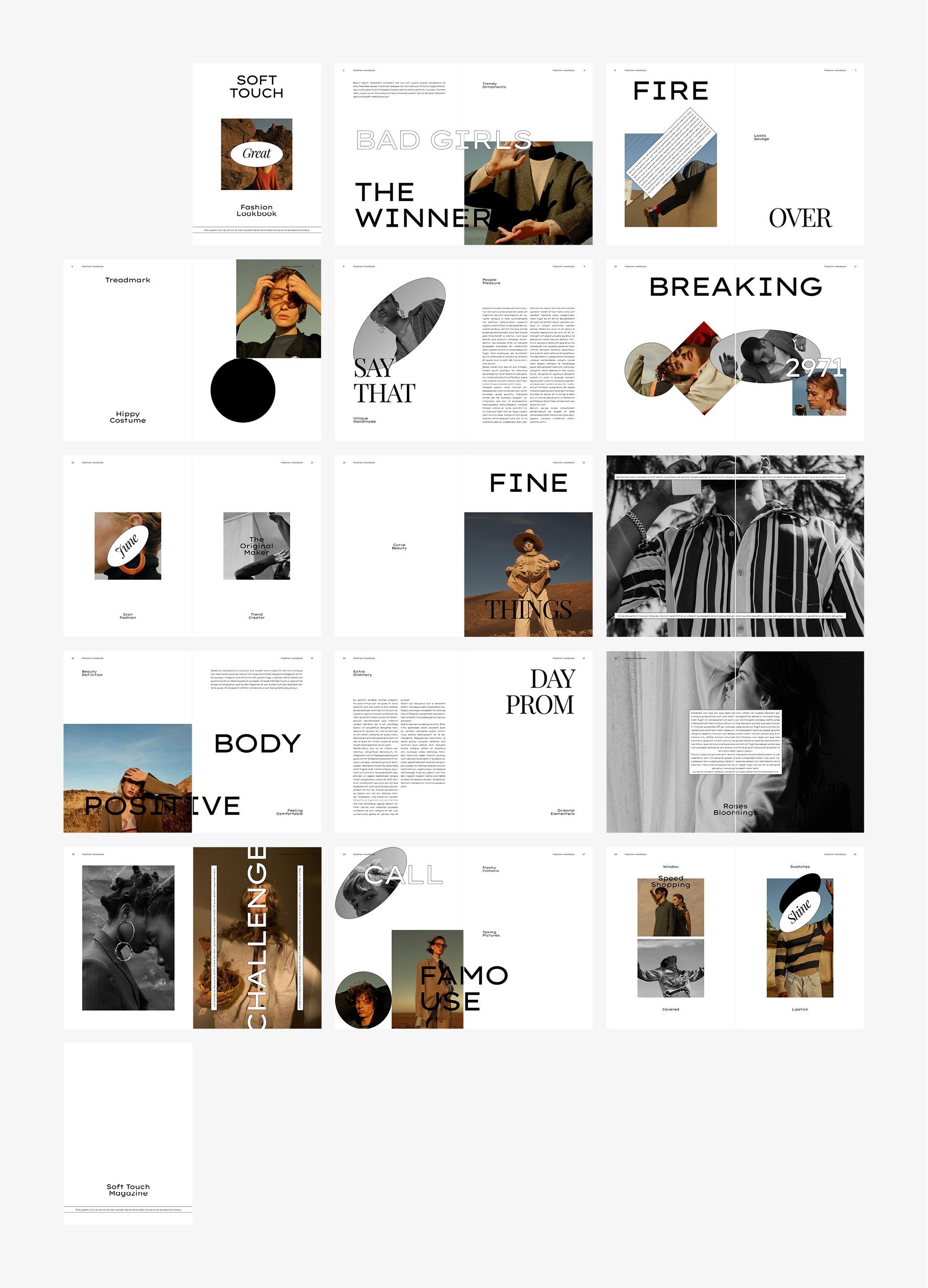 极简服装造型设计INDD画册模板 SOFT TOUCH Fashion Lookbook插图(6)