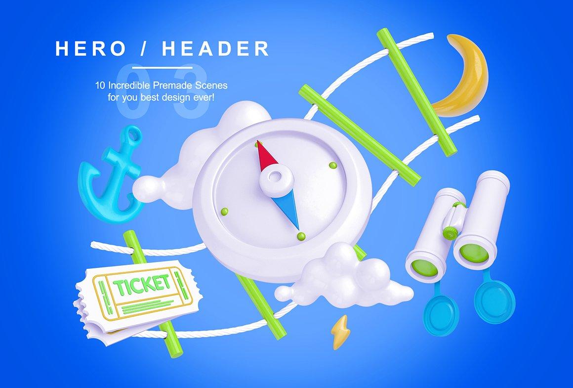 趣味卡通3D立体旅行主题场景元素海报设计智能贴图PSD样机素材 Bright Travel Items Scene Generator插图(6)