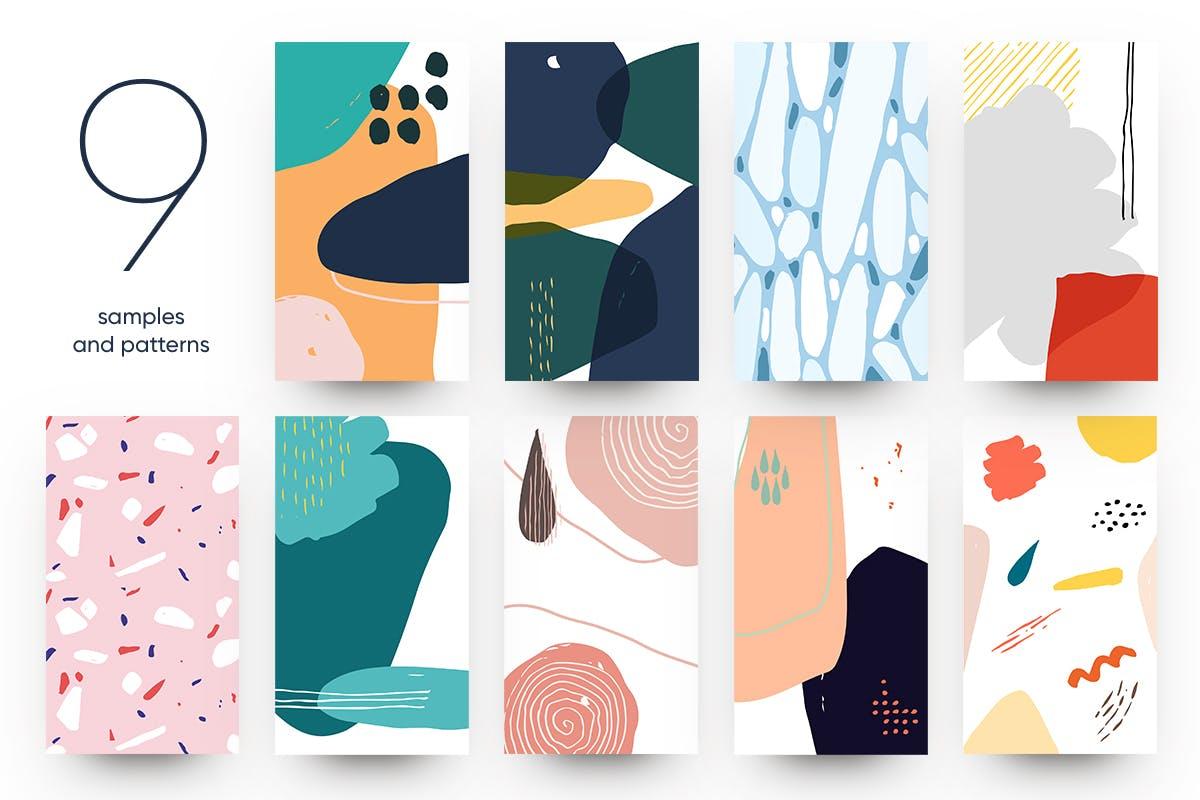 现代时尚抽象手绘图案背景纹理矢量素材 Abstract Backgrounds插图(6)
