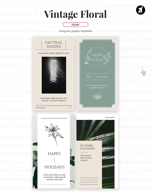 复古花卉品牌推广社交新媒体海报设计PSD模板 Vintage Floral Social Media Graphic Templates插图(6)