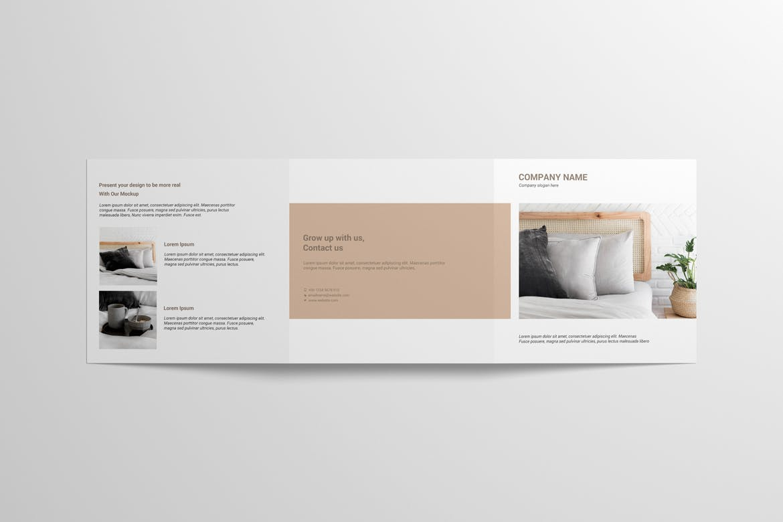 8款方形三折页小册子设计样机 Square Trifold Brochure Mockup插图(6)