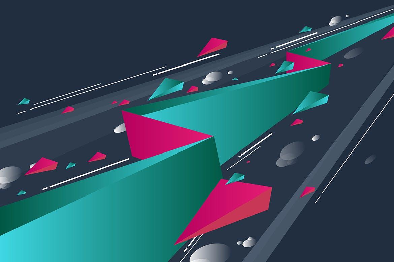 多彩抽象几何闪电矢量背景素材 Geometric Lightning Backgrounds插图(6)