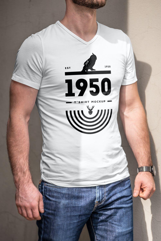 10款男士T恤印花设计展示样机模板 T-Shirt Mockup 5插图(6)