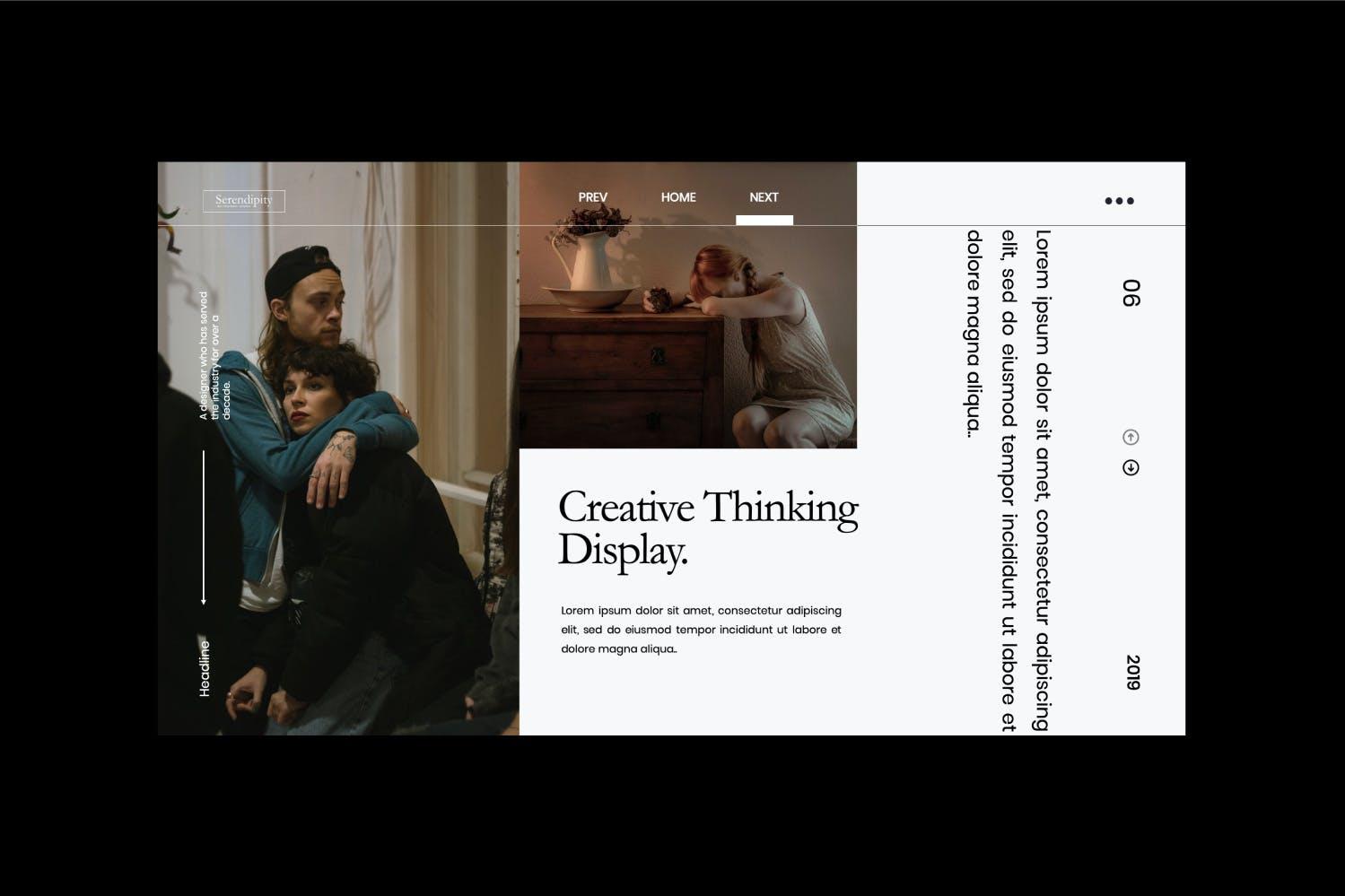 时尚简约服装摄影作品集幻灯片设计模板 Serendipity – Modern Fashion Design Powerpoint插图(6)