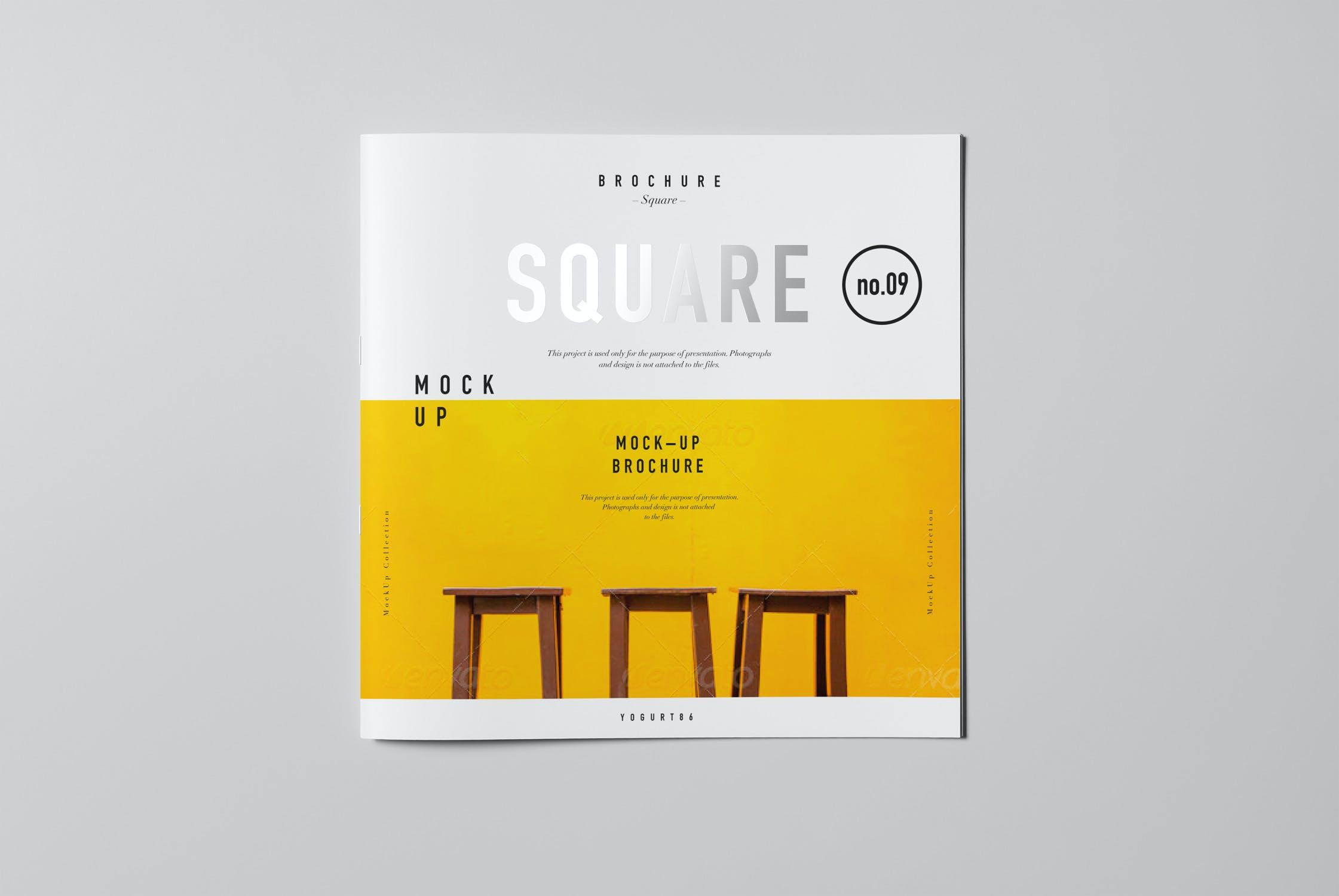 8款方形杂志画册设计展示样机模板 Square Brochure Mockup插图(6)