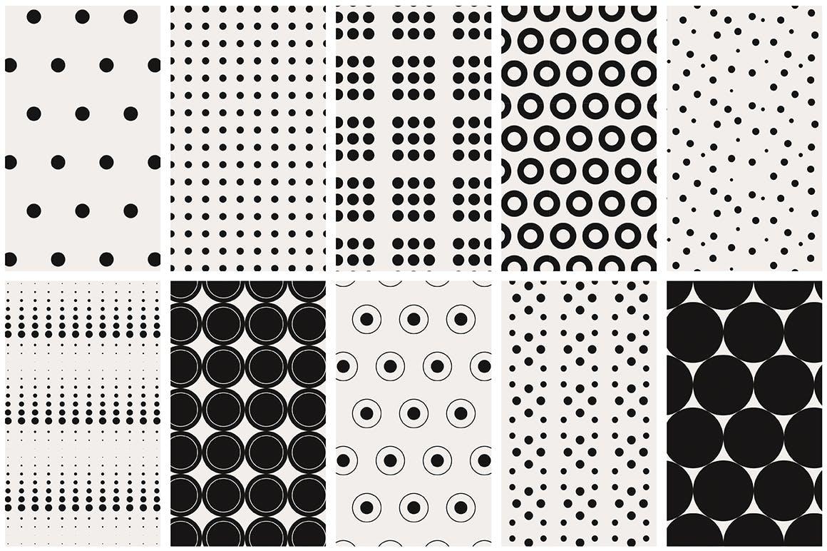 40款点状无缝隙矢量图案背景素材 Dots & Spots Seamless Patterns插图(6)