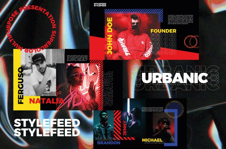 潮流服装摄影作品集PPT幻灯片设计模板 Urbanic Powerpoint Templates插图(5)