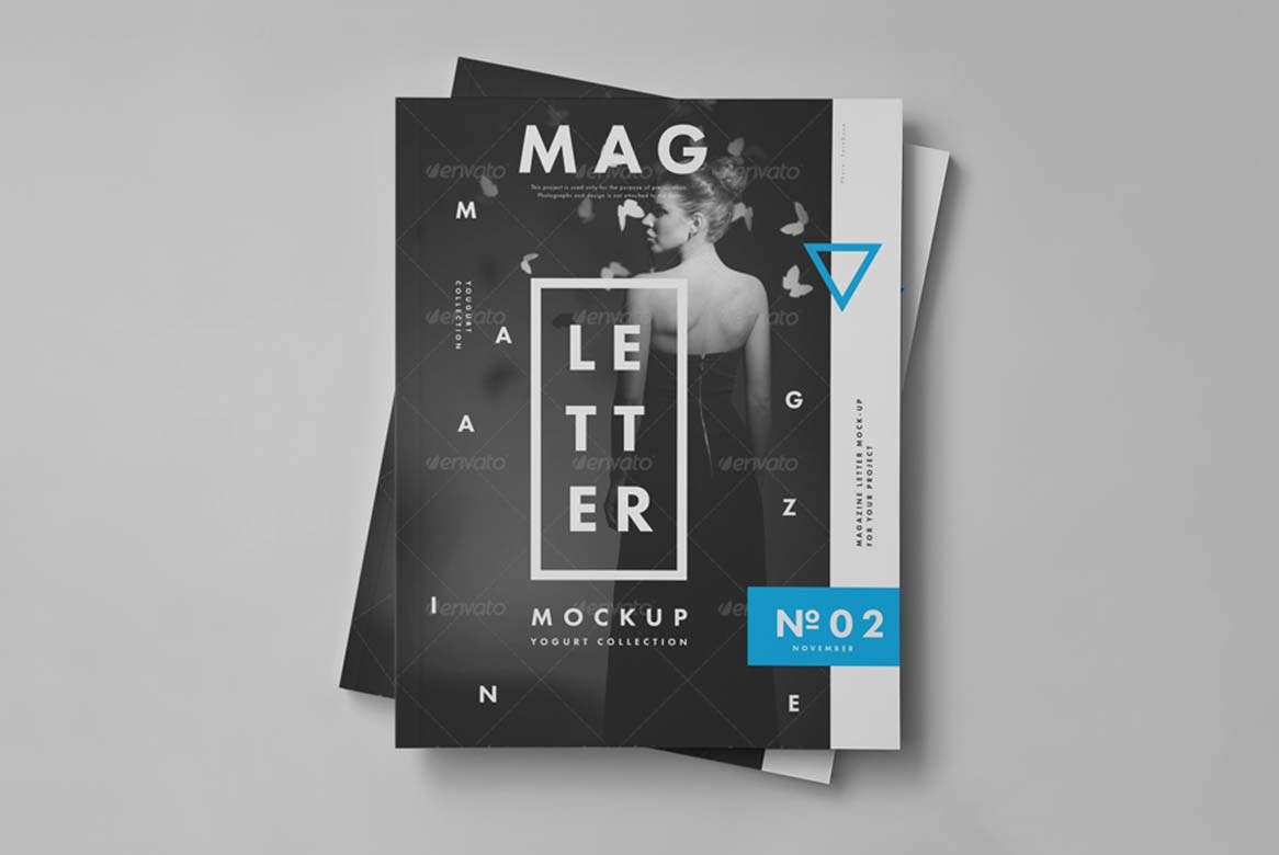 9款杂志画册目录设计展示样机模板 US Letter Magazine Mockup 2插图(6)