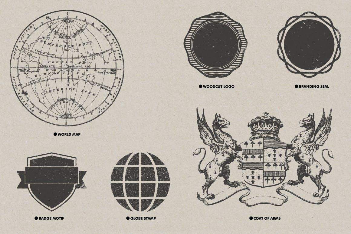 30款复古矢量插图背景纹理素材 Vintage Textures Pack插图(6)