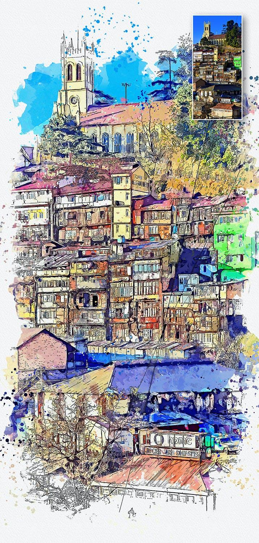 手绘水彩素描效果城市照片后期特效PS动作 Urban Sketch Photoshop Action插图(6)