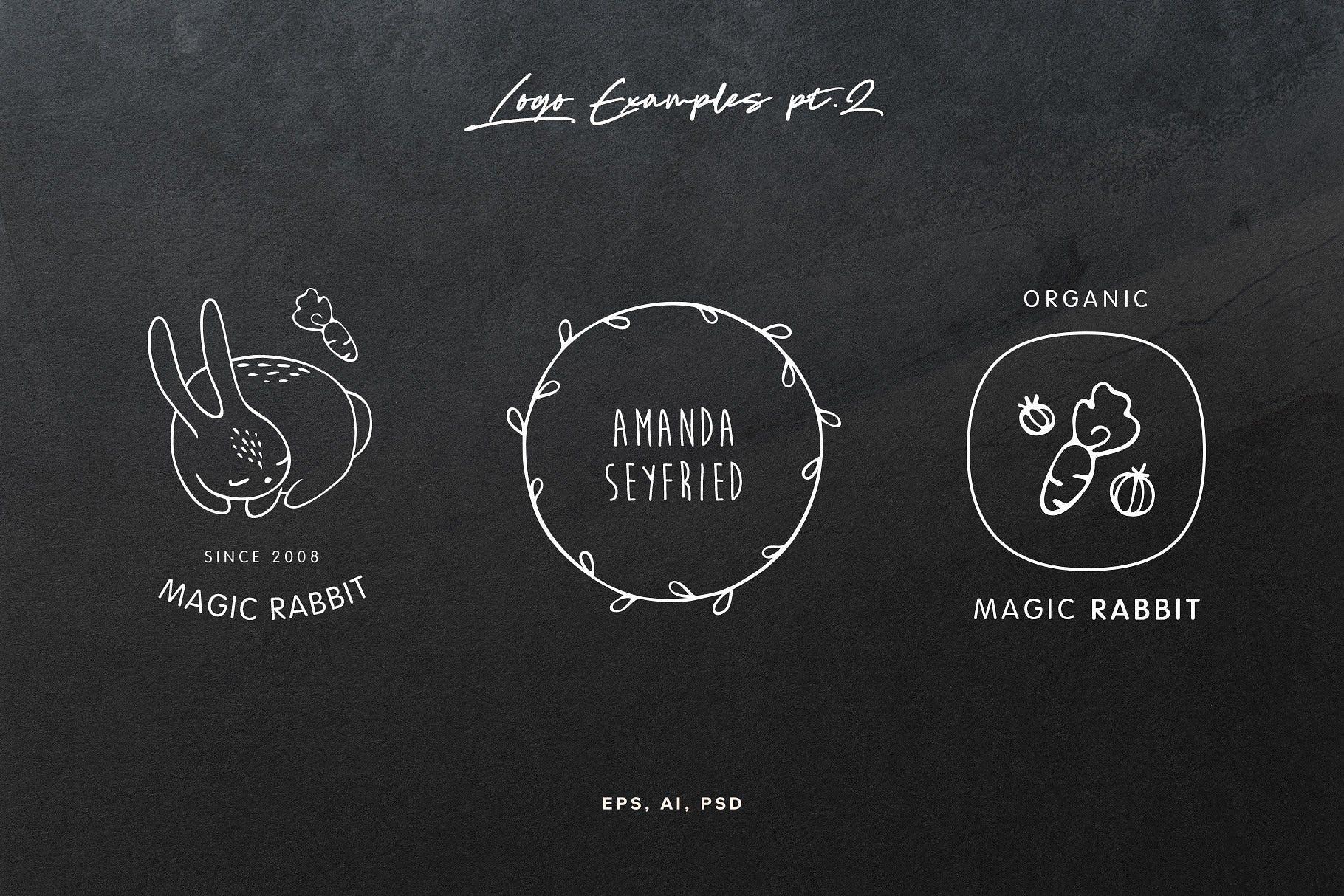 50款可爱手绘动物植物LOGO设计模板 50 Hand Drawn Logo Elements插图(6)