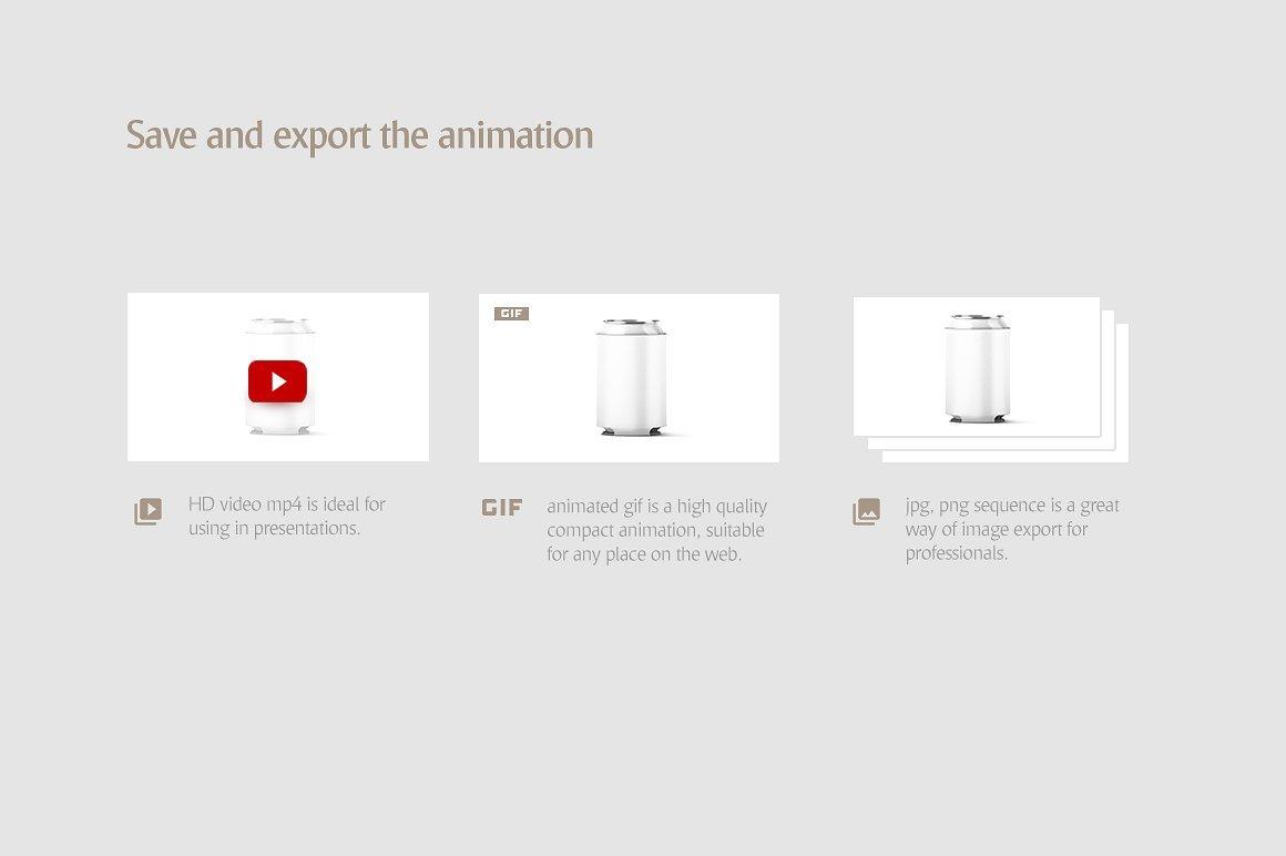 听装啤酒饮料易拉罐外观设计展示样机 Can Koozie Animated Mockup插图(7)