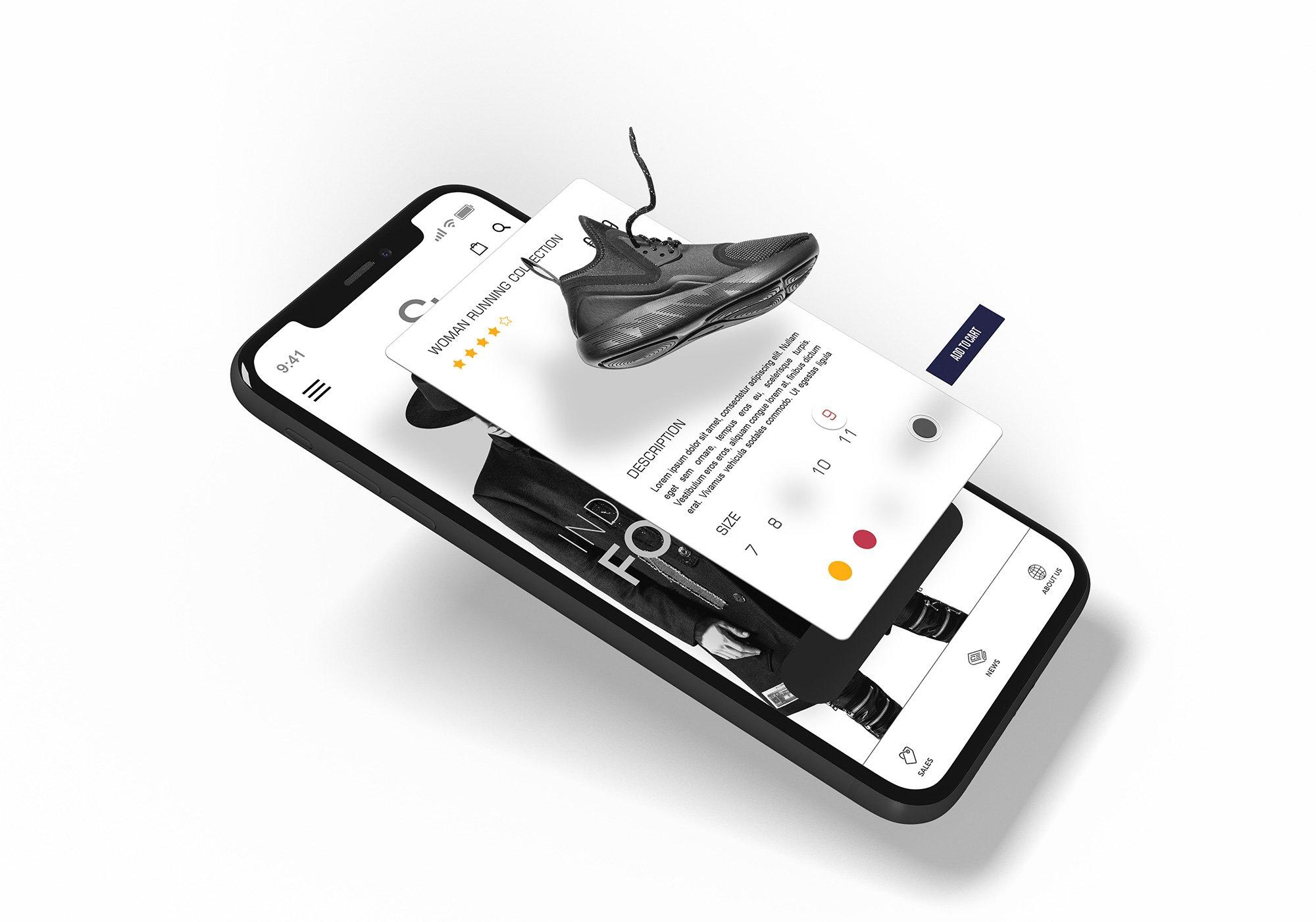APP应用设计iPhone X屏幕演示样机模板 iPhone X Multilayer Mockup Set插图(7)