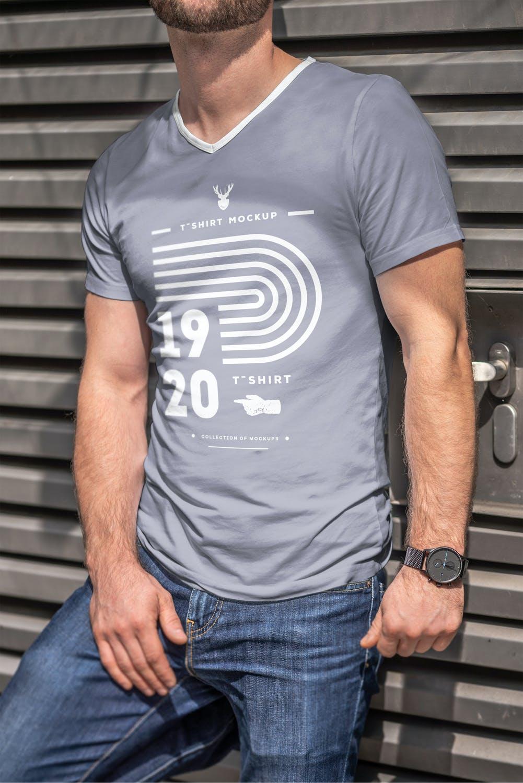 10款男士T恤印花设计展示样机模板 T-Shirt Mockup 5插图(7)