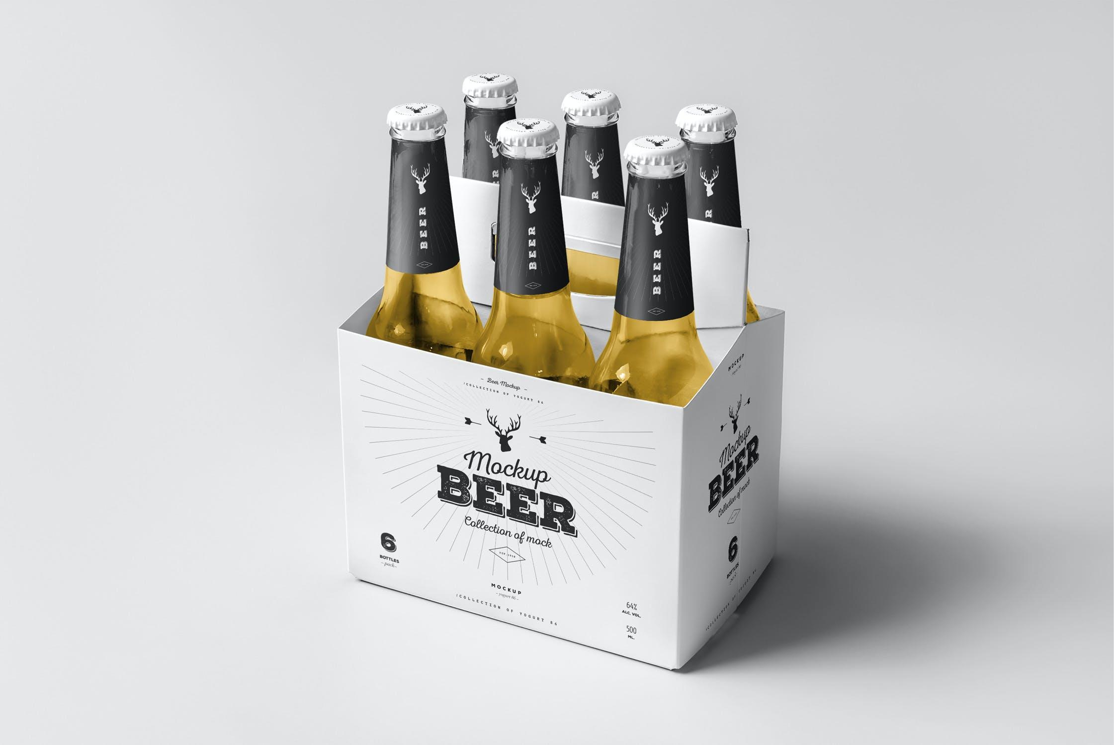 7款啤酒玻璃瓶标签设计展示样机模板 Beer Mockup 5插图(7)