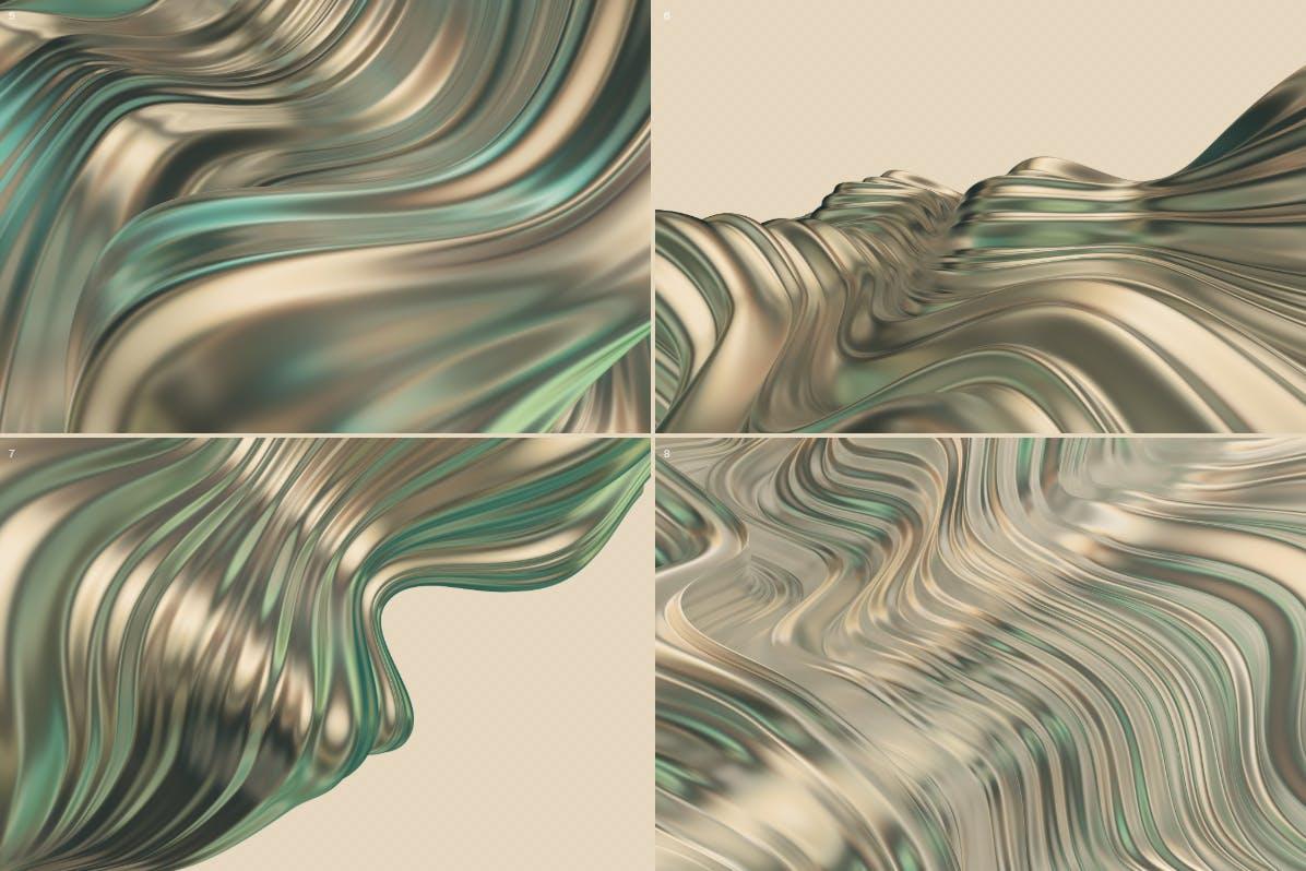 抽象3D波浪条纹金色&绿色背景素材 Abstract 3D Wavy Striped Backgrounds -Gold & Green插图(7)
