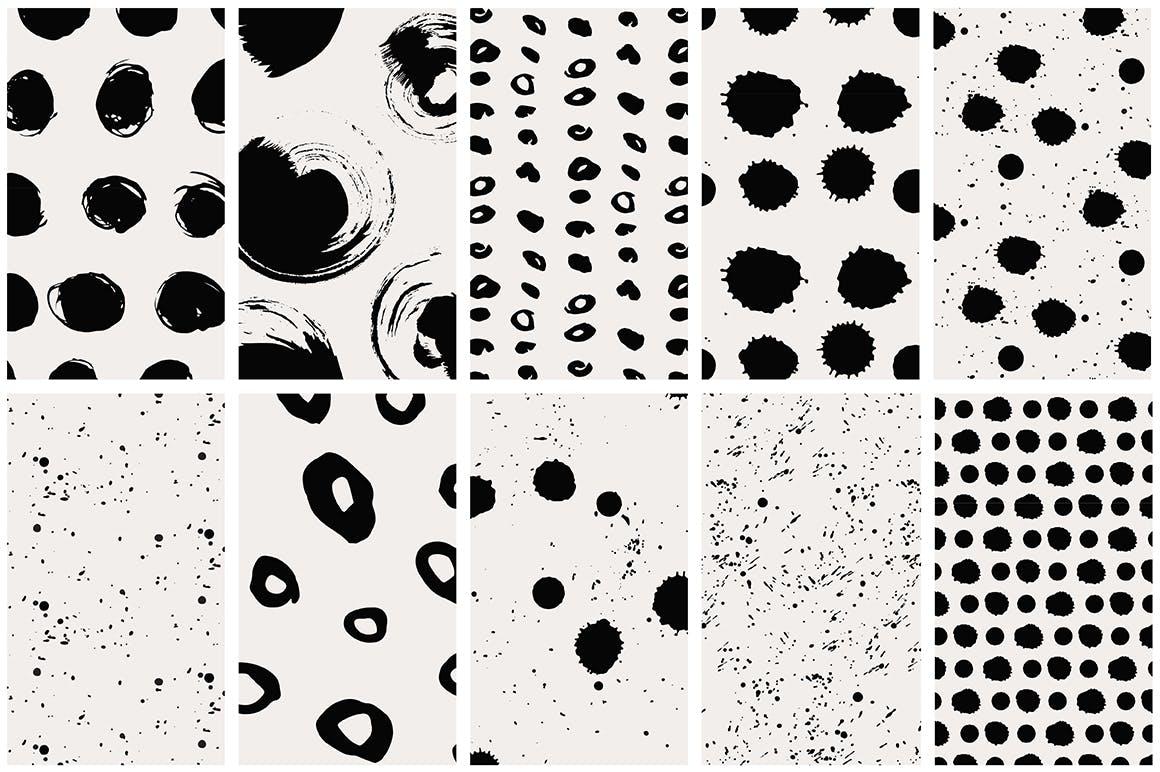 40款点状无缝隙矢量图案背景素材 Dots & Spots Seamless Patterns插图(7)