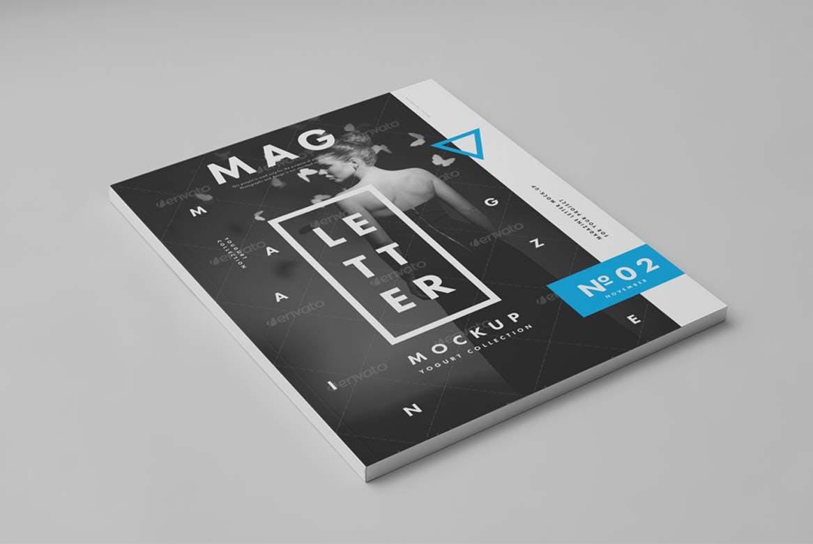 9款杂志画册目录设计展示样机模板 US Letter Magazine Mockup 2插图(7)