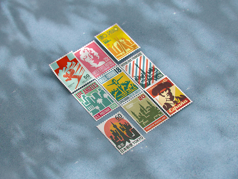 10款复古邮票文创设计展示样机模板 Postage Stamp MockUp v1插图(7)