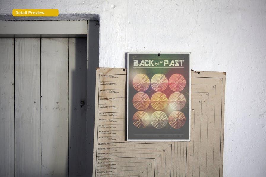 复古做旧褶皱撕裂街头墙贴海报设计展示样机模板 Poster Mockup插图(7)