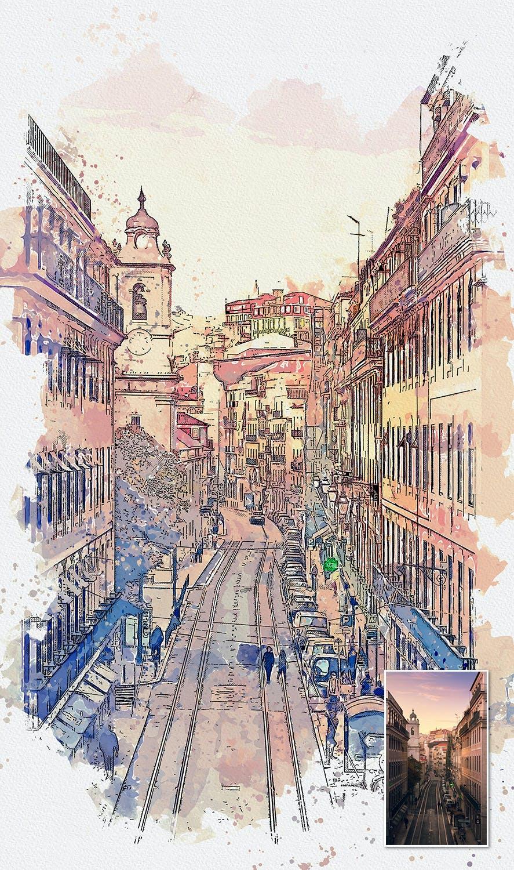 手绘水彩素描效果城市照片后期特效PS动作 Urban Sketch Photoshop Action插图(7)