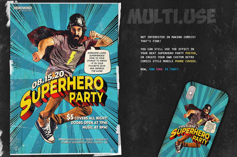 逼真复古手绘漫画效果照片后期处理特效PS动作 Retro Comic Book Photoshop Action Kit插图(7)