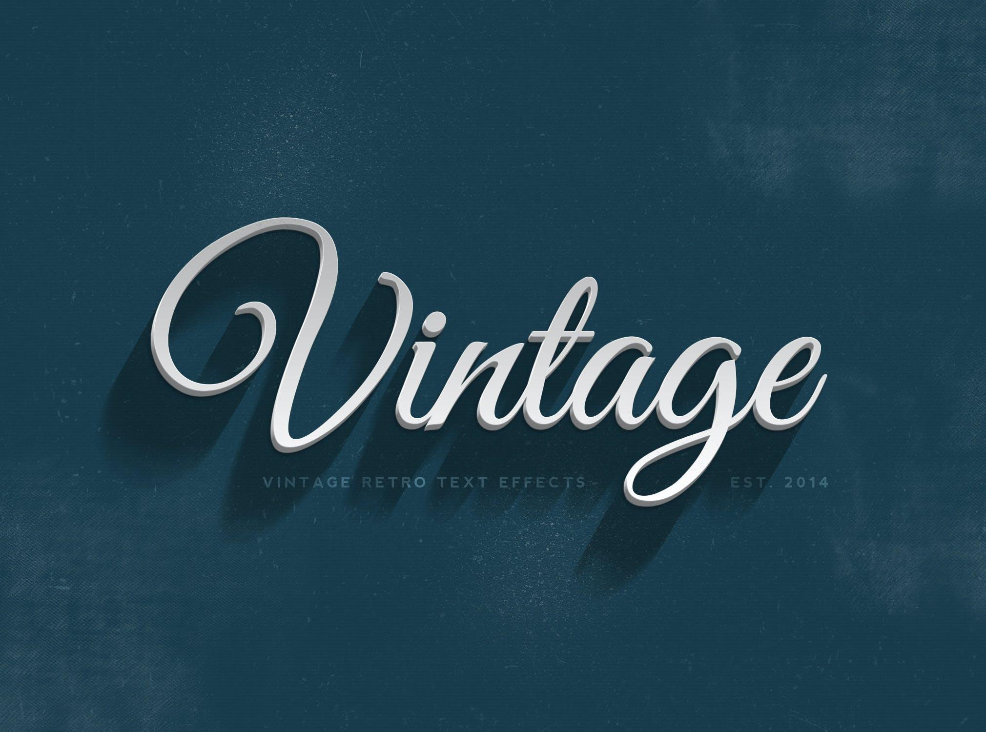 14款老式复古3D立体效果徽标标题字体设计PS样式模板 14 Vintage Retro Text Effects插图(7)