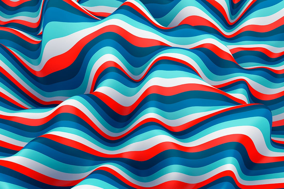 10款高清抽象多彩3D条纹波背景PNG图片素材 Multi-colored Striped Waves Backgrounds插图(7)