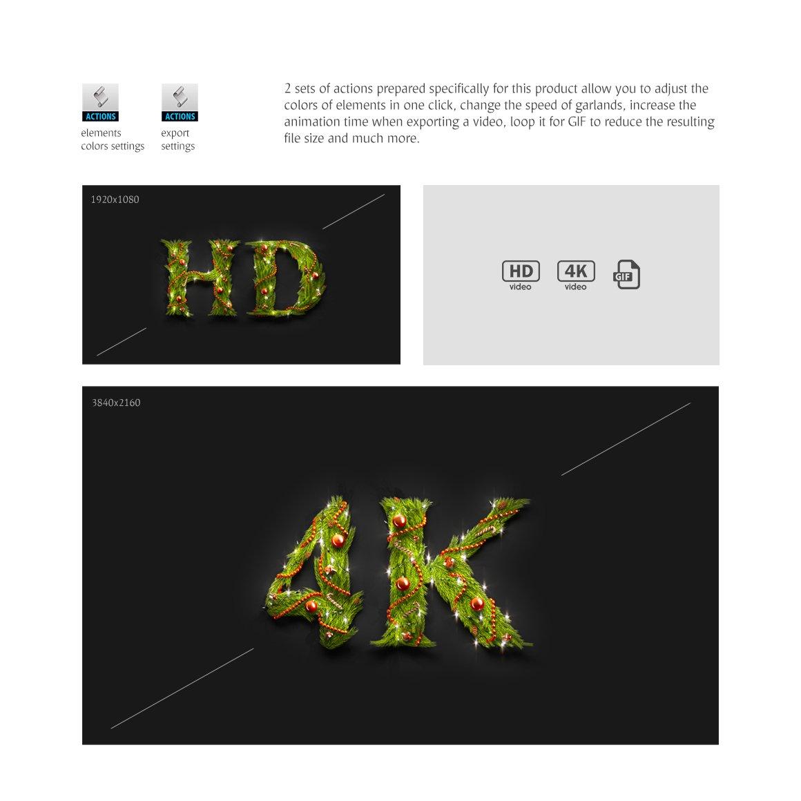 62款圣诞节主题字母数字设计动态展示PSD样机模板 Christmas Animated Typeface插图(6)