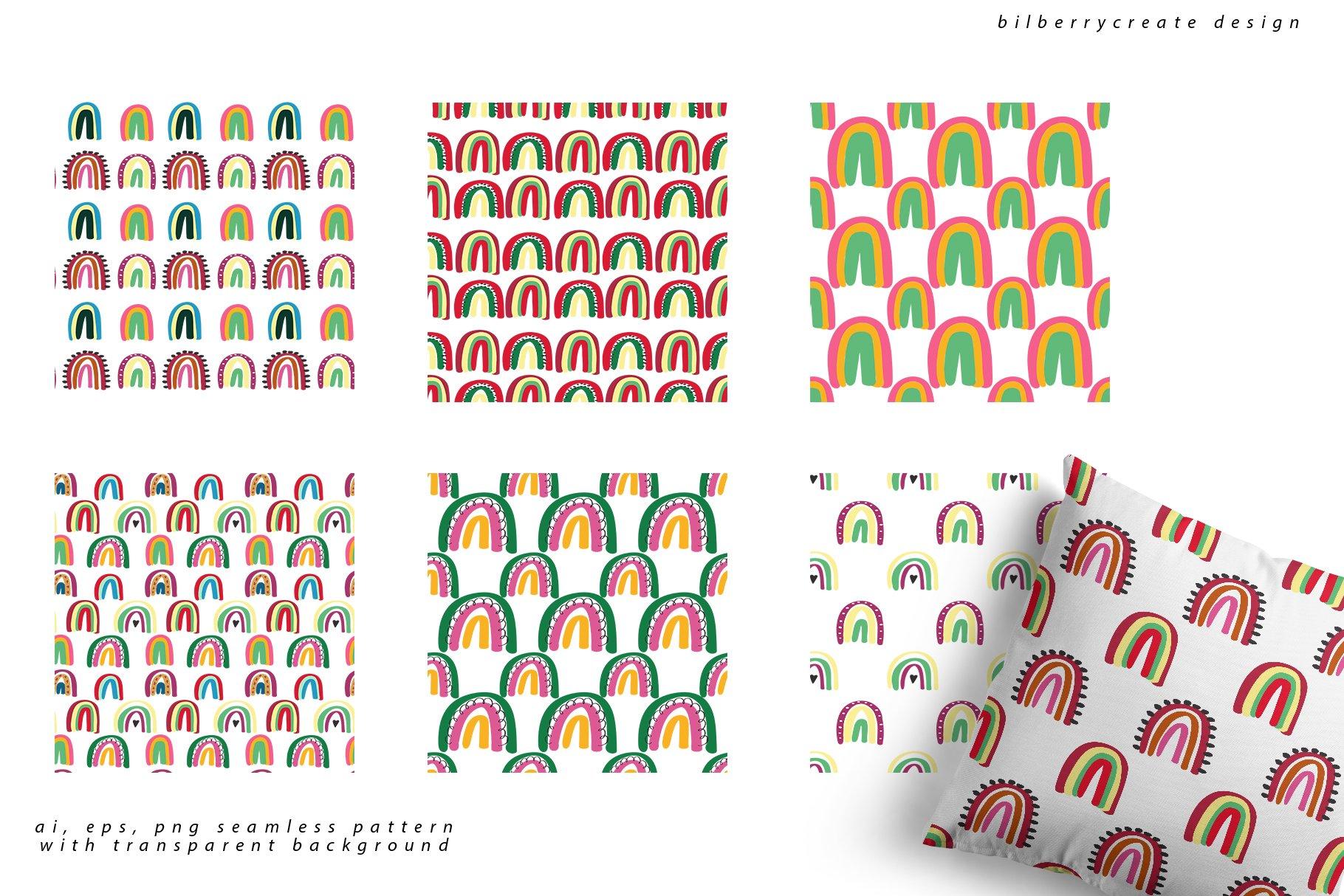 现代卡通抽象花卉彩虹元素矢量插图 Playful Naive Art Abstract插图(8)