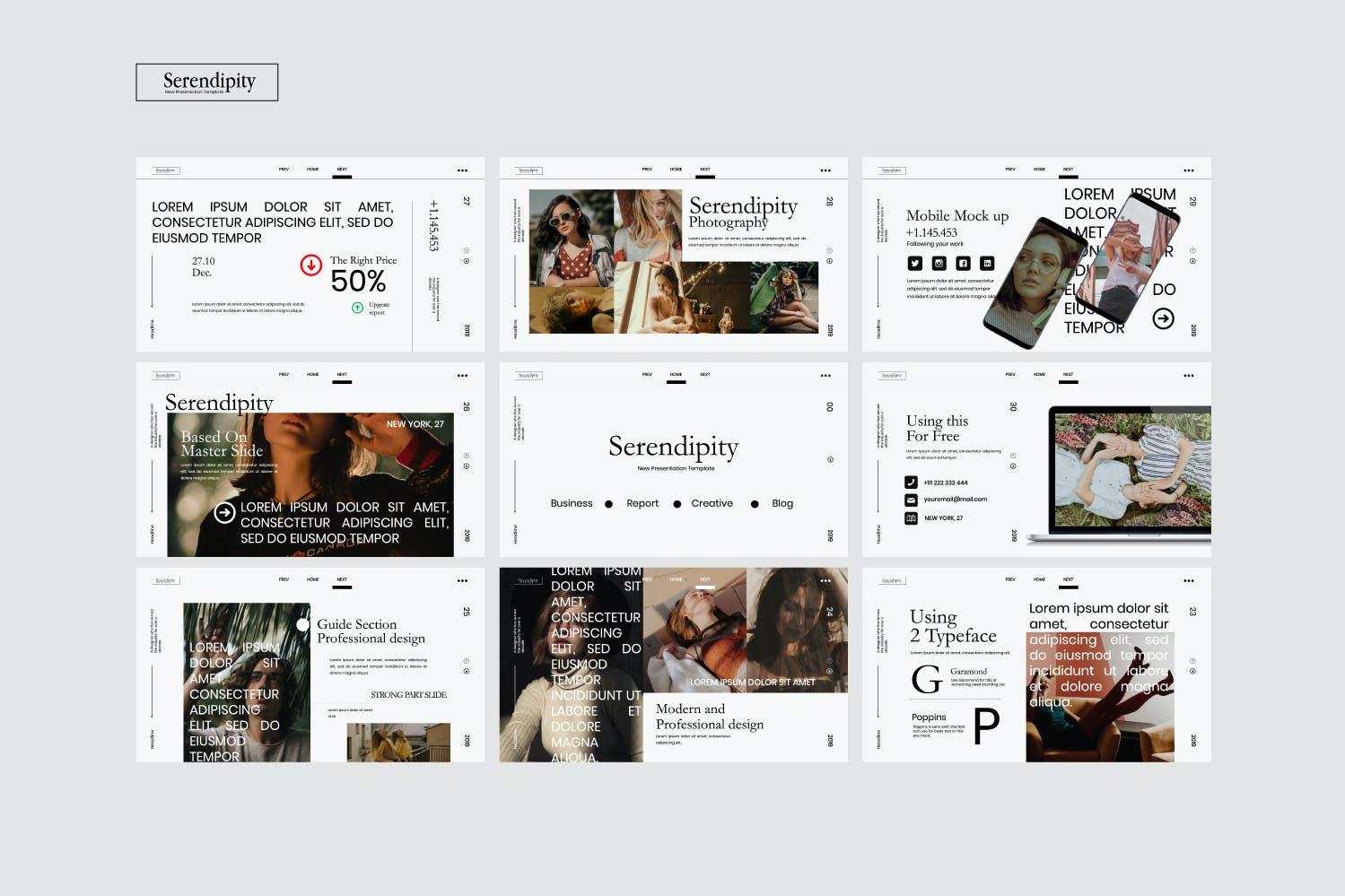 时尚简约服装摄影作品集幻灯片设计模板 Serendipity – Modern Fashion Design Powerpoint插图(8)