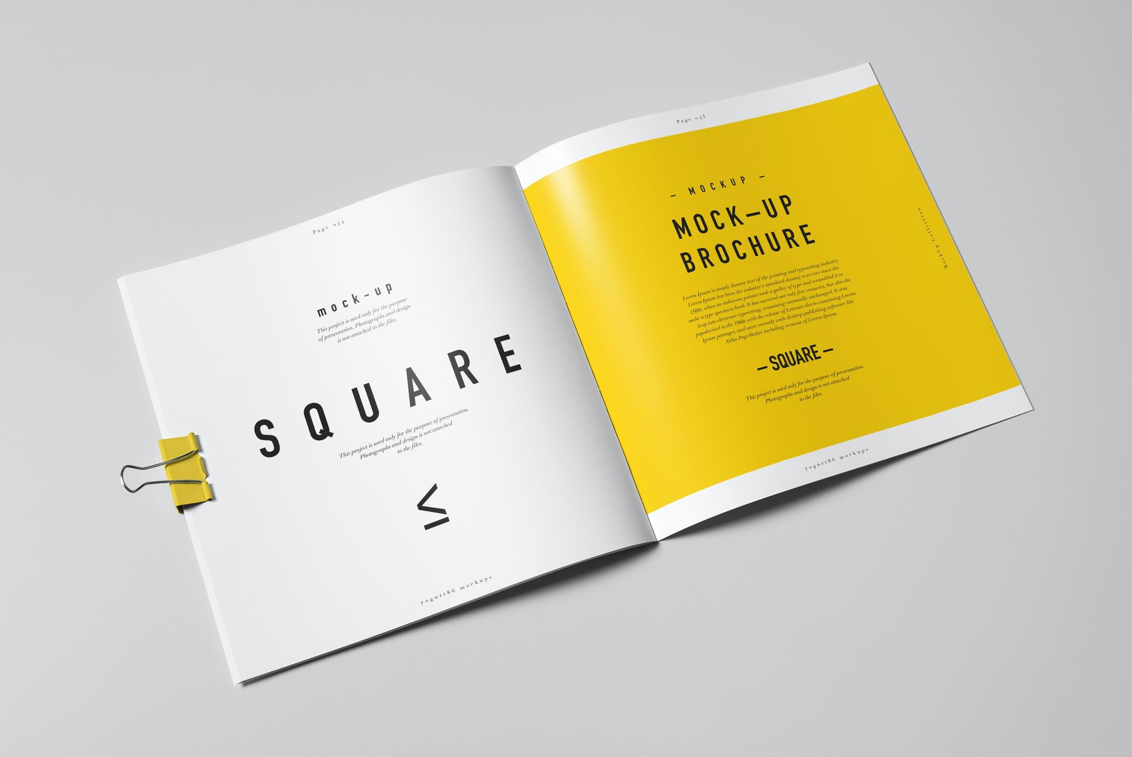 8款方形杂志画册设计展示样机模板 Square Brochure Mockup插图(8)