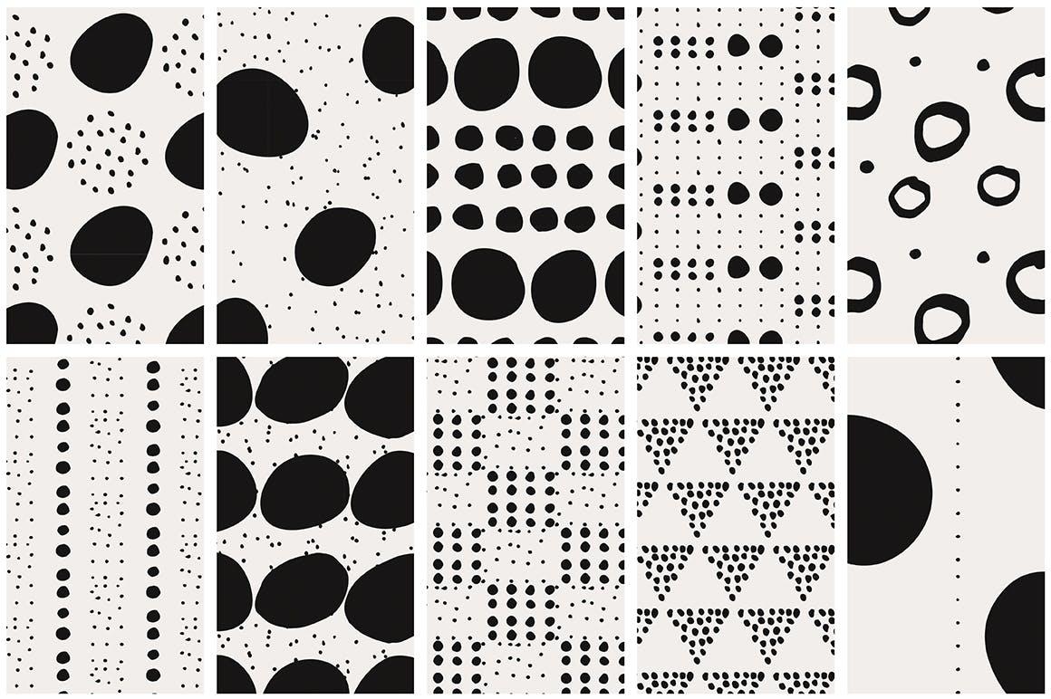 40款点状无缝隙矢量图案背景素材 Dots & Spots Seamless Patterns插图(8)
