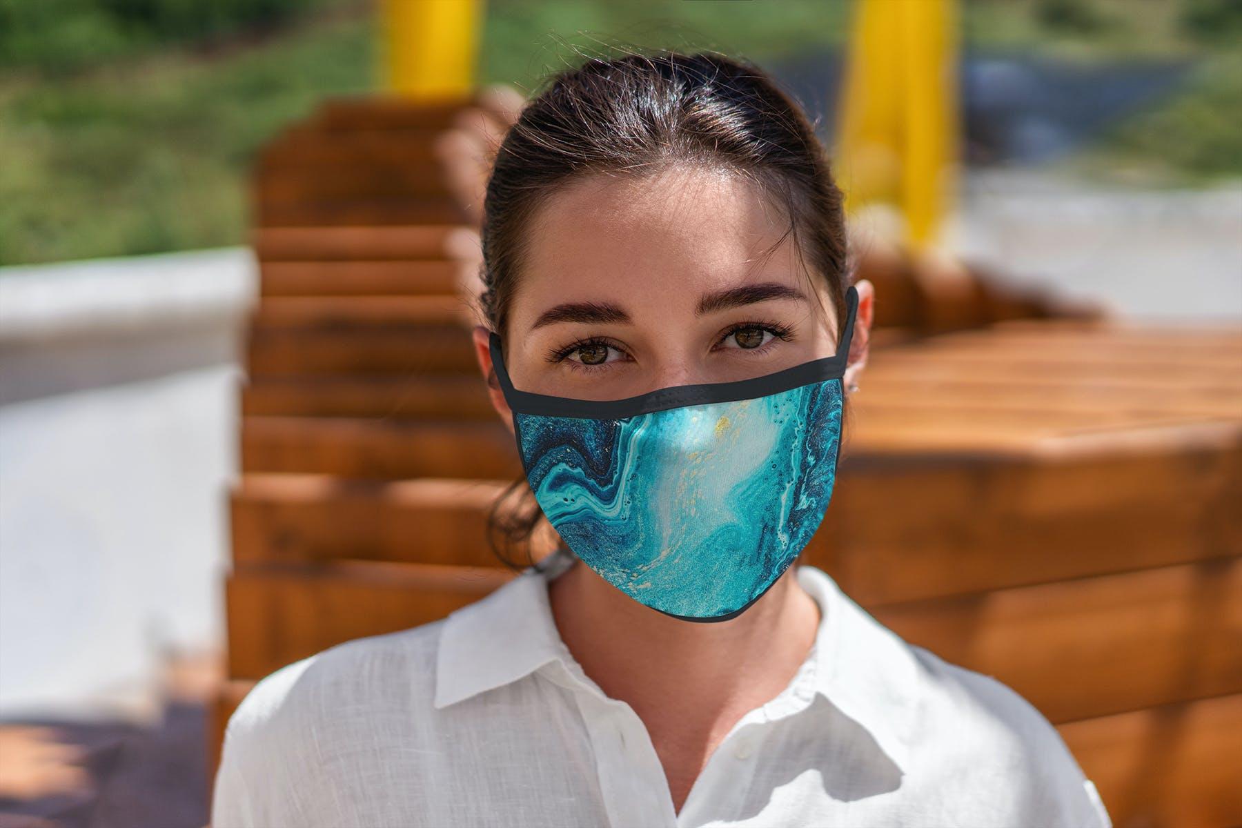 17款防护面罩口罩印花设计展示样机模板 Face Mask Mockup Edges Model插图(8)