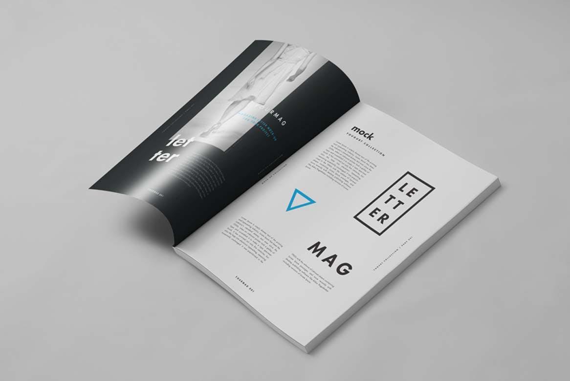 9款杂志画册目录设计展示样机模板 US Letter Magazine Mockup 2插图(8)