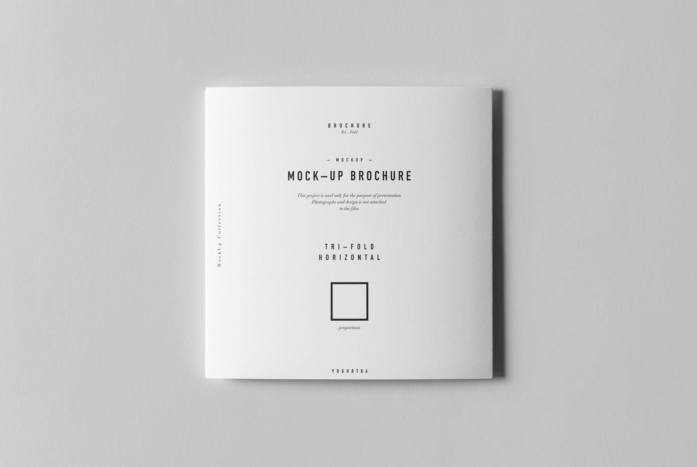 8款三折页小册子设计展示样机模板 Tri-Fold Square Brochure Mockup插图(8)