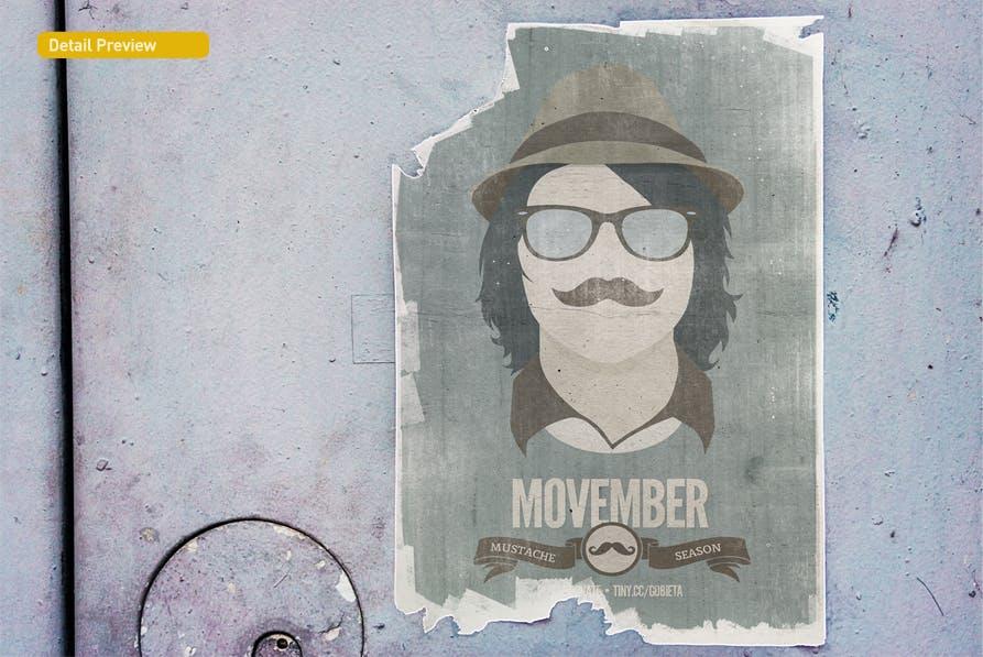 复古做旧褶皱撕裂街头墙贴海报设计展示样机模板 Poster Mockup插图(8)