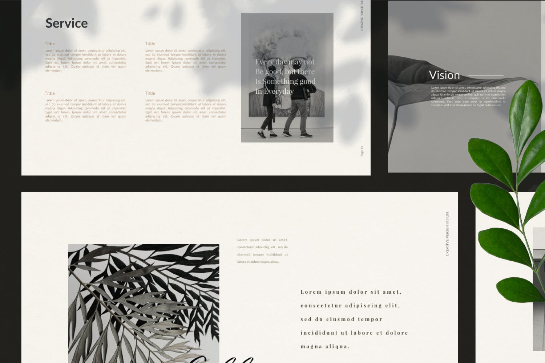 轻柔摄影作品集演示文稿设计模板 Elliette – Powerpoint插图(8)