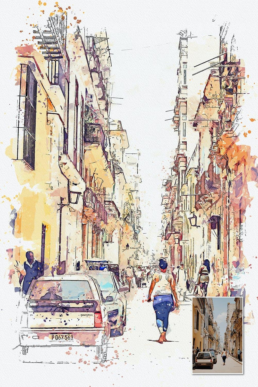 手绘水彩素描效果城市照片后期特效PS动作 Urban Sketch Photoshop Action插图(8)