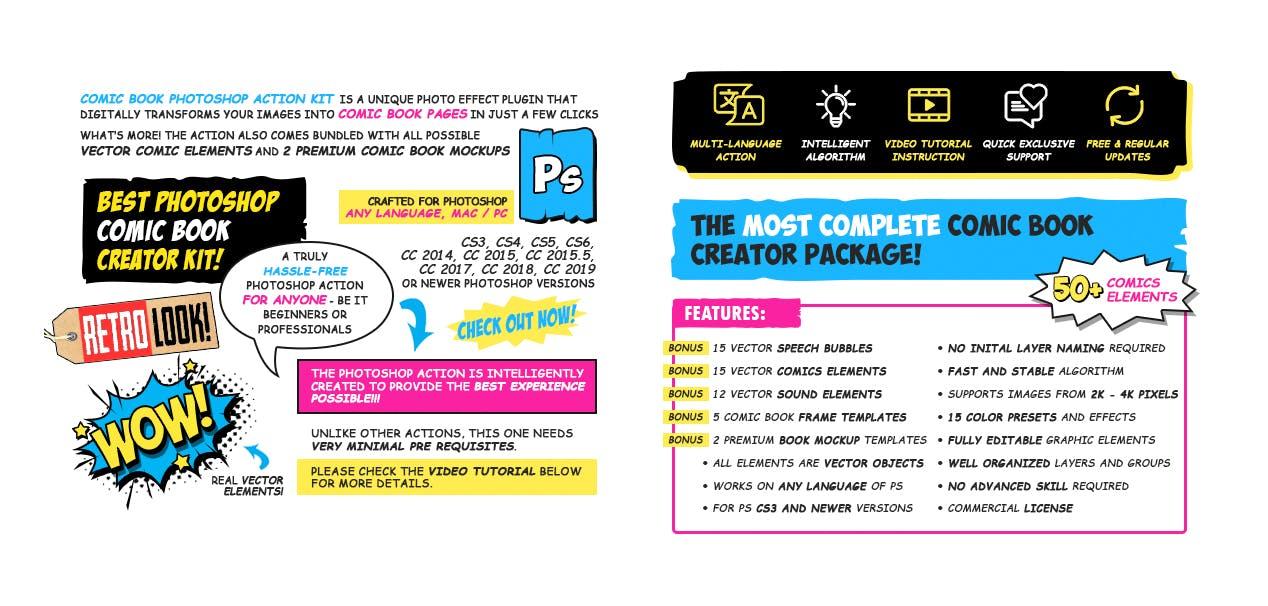 逼真复古手绘漫画效果照片后期处理特效PS动作 Retro Comic Book Photoshop Action Kit插图(8)