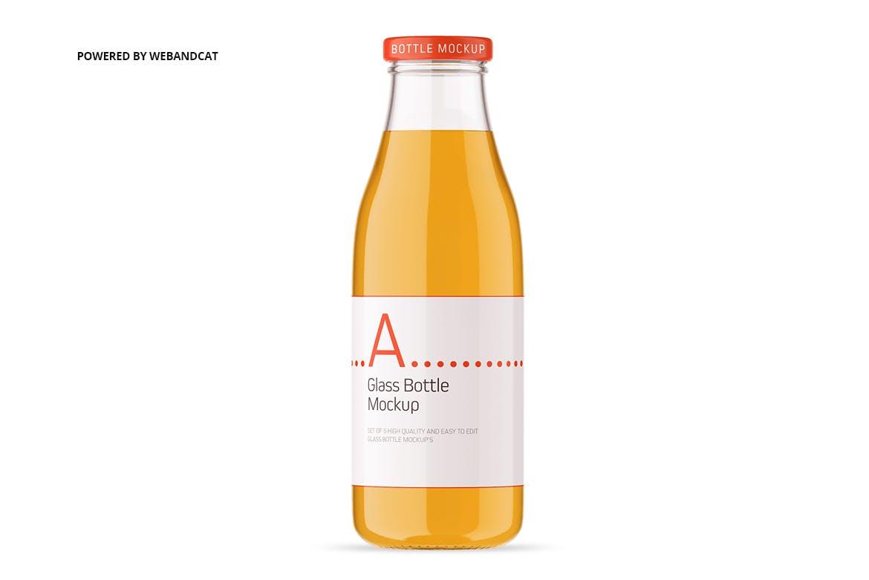 果汁牛奶玻璃瓶设计展示样机 Juice / Glass Bottle Mockup插图(8)
