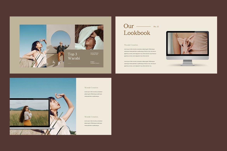 时尚服装造型设计作品集幻灯片模板 WARABI – Fashion Lookbook PowerPoint Template插图(8)