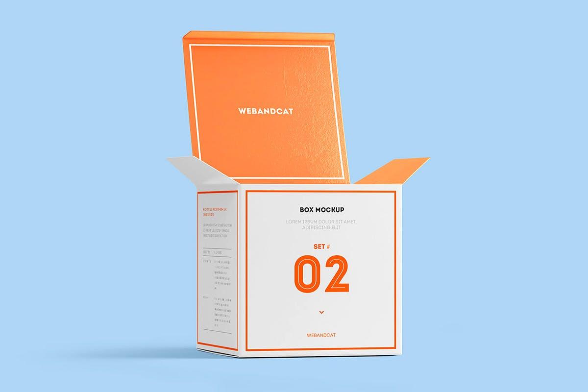 7款方形产品包装纸盒外观设计展示样机模板 Package Box Mockup: Square Box插图(8)