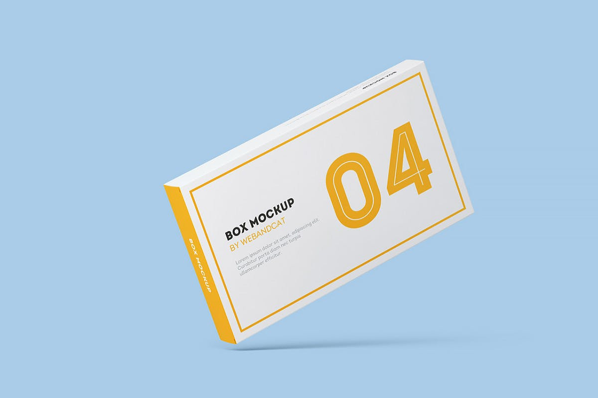 9款平面矩形药片包装盒设计展示样机模板 Package Box Mockup: Flat Rectangle Box插图(8)