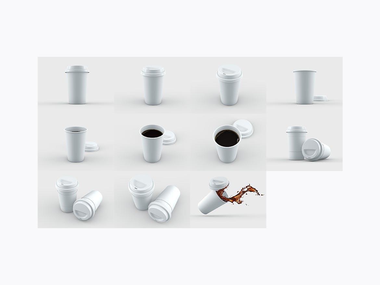 24款多角度一次性外卖咖啡纸杯设计展示样机模板 Coffee Cup MockUp插图(8)