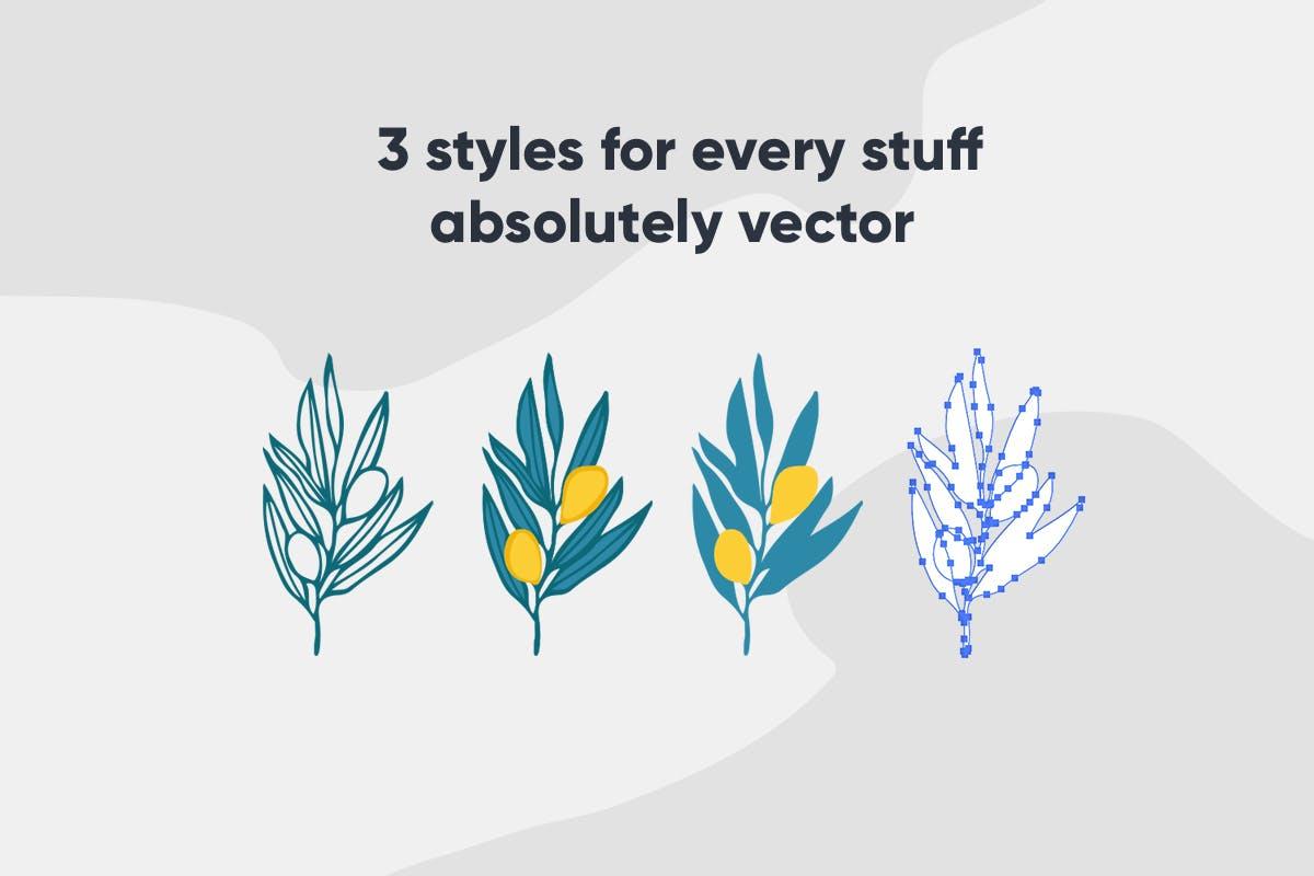 手绘自然花卉植物艺术背景图矢量素材 Floral Backgrounds & Patterns插图(8)