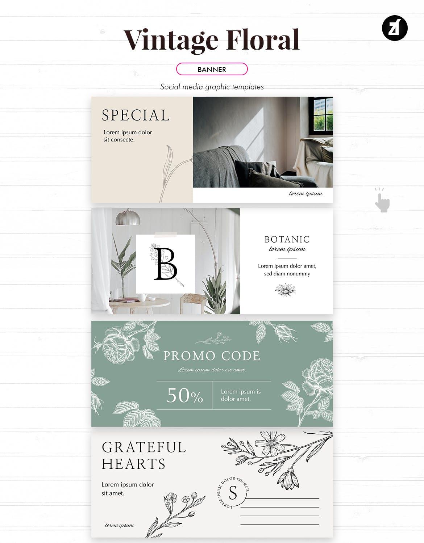 复古花卉品牌推广社交新媒体海报设计PSD模板 Vintage Floral Social Media Graphic Templates插图(8)
