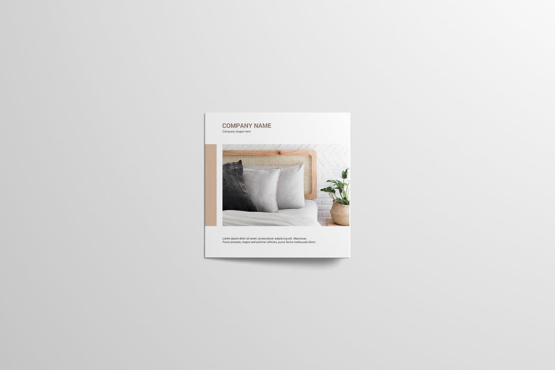 8款方形三折页小册子设计样机 Square Trifold Brochure Mockup插图(8)
